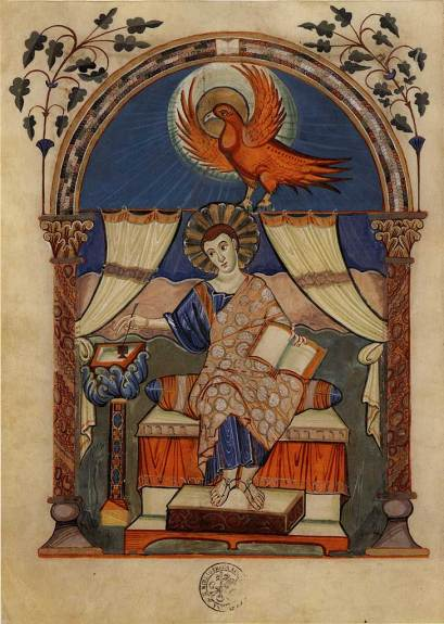 St John writing his Gospel