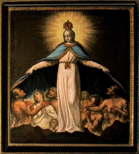 A baroque painting of Mary as the protectress of the poor souls in purgatory in the pilgrimage church of the Holy Trinity in Weihenlinden, Bavaria.